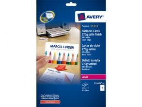 , visitekaartjes Avery 85x54mm 270gr wit 25 vel 10 kaarten    per vel