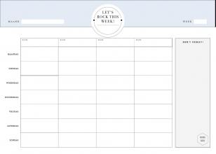, Weekplanner whiteboard blauw