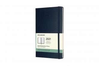 , Moleskine 12 MND Agenda - 2021 - Wekelijks - Large (13x21 cm) - Sapphire Blauw - Harde Kaft