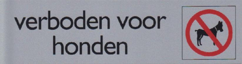 , Infobord pictogram verboden voor honden 165x44mm