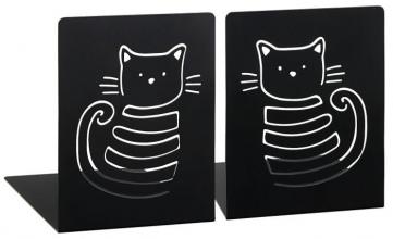 , Moses boekensteunen 2 st. zwart met kat
