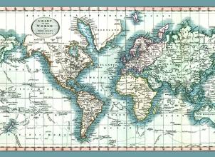 Tap.ee.258 Tapijt wereldkaart mercator projection  135x195 cm
