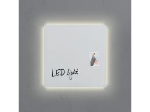 , glasmagneetbord Sigel Artverum LED light 480x480x15 super   wit