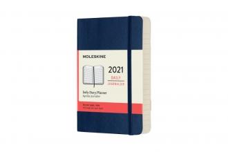 , Moleskine 12 MND Agenda - 2021 - Dagelijks - Pocket (9x14 cm) - Sapphire Blauw - Zachte Kaft