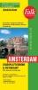 ,<b>Falk stadsplattegrond & fietskaart Amsterdam 2016-2018, 65e druk met fietsknooppunten en tramlijnen.</b>