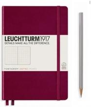 Lt359683 , Leuchtturm notitieboek softcover 19x12.5 cm bullets/dots/puntjes port red