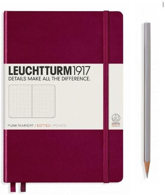 Lt359683,Leuchtturm notitieboek softcover 19x12.5 cm bullets/dots/puntjes port red