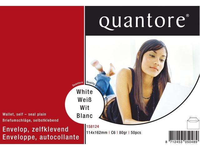 ,Envelop Quantore bank C6 114x162mm zelfklevend wit 50stuks