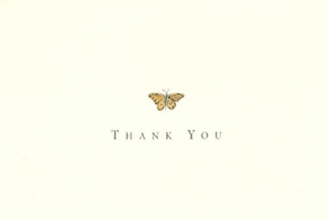 Gold Butterfly Thank You 14pk