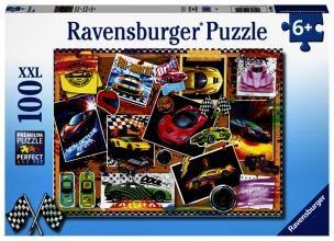 , Puzzel Ravensburger prikbord raceautos 100 stukjes