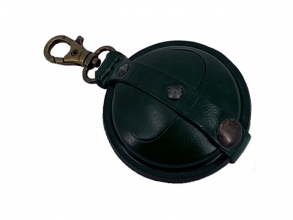 , sleutelhanger Mika klein zadelleer opbergvak voor munten.   groen
