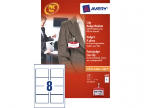 , Badge Avery met clip 4822 60x90mm 25 stuks + 32 insteekkaarten