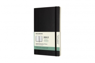 , Moleskine 18 MND Agenda - 2020/21 - Wekelijks - Large (13x21 cm) - Zwart - Zachte Kaft