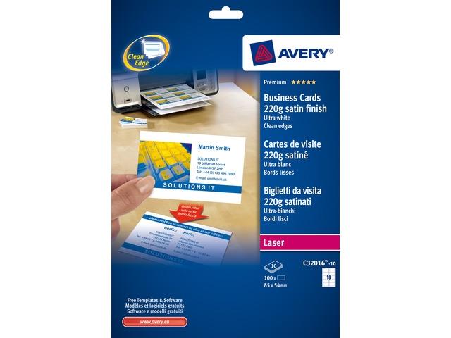 ,visitekaartjes Avery 85x54mm 220gr wit 10 vel 10 kaarten    per vel