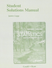 Robert Gould,   Colleen N. Ryan Student Solutions Manual for Introductory Statistics