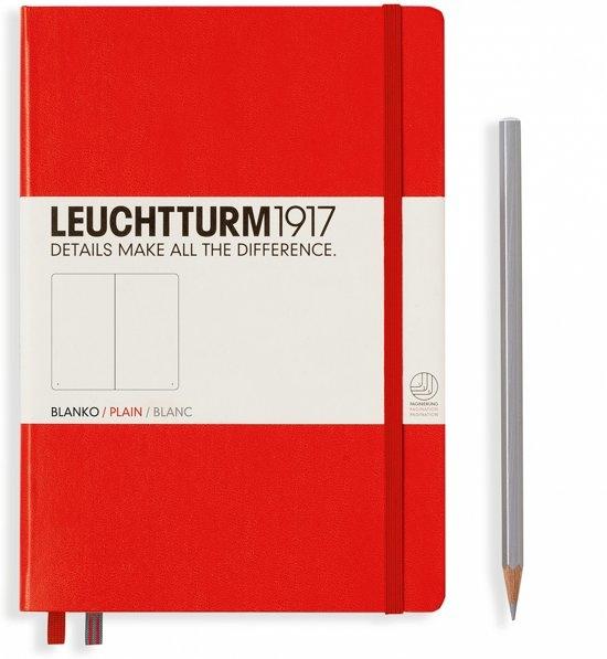Lt309141,Leuchtturm notitieboek medium 145x210 blanco rood