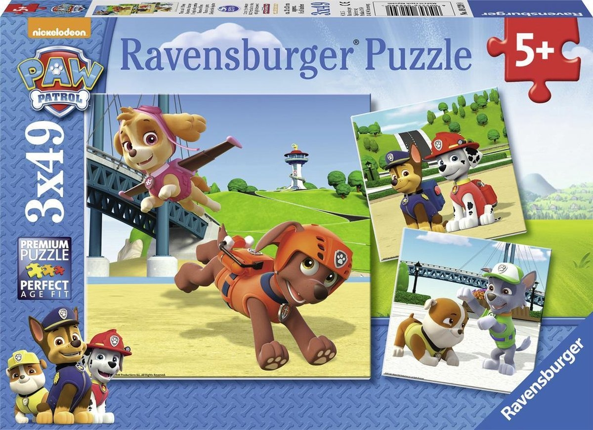 Rav-092390,Puzzel paw patrol team op 4 poten 3x49 stuks