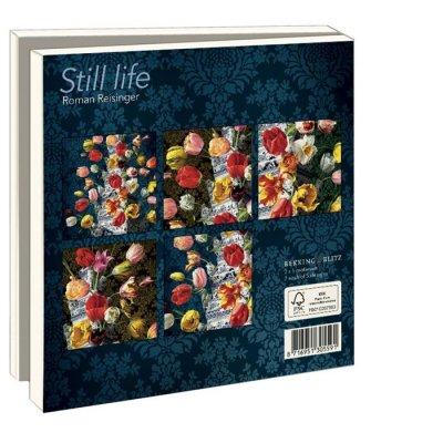 Wmc884,Notecards 10 stuks bloemstilleven met tulpenvaas roman reisinger