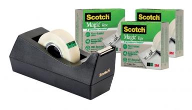 , Plakbandhouder Scotch C38 recycled zwart + 3rol magic tape 900 19mmx33m