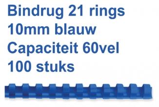 , Bindrug Fellowes 10mm 21rings A4 blauw 100stuks