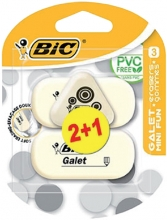 , Gum Bic Galet blister à 2 stuks + 1 gratis