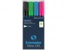 ,Marker Schneider Maxx 245 4st.  in etui, wit, groen, blauw, rood
