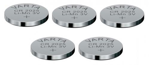 , Batterij Varta knoopcel CR2025 lithium blister à 5stuk