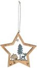 , Kerstboomhanger winterlandschap ster hout