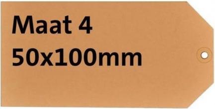 , Label karton nr4 200gr 50x100mm chamois 1000stuks