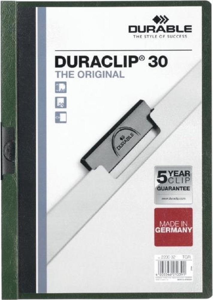 ,Klemmap Durable 2200 A4 3mm donkergroen