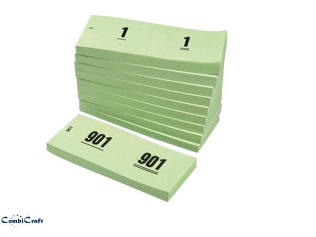 ,Nummerblok 42x105mm nummering 1-1000 groen 10 stuks