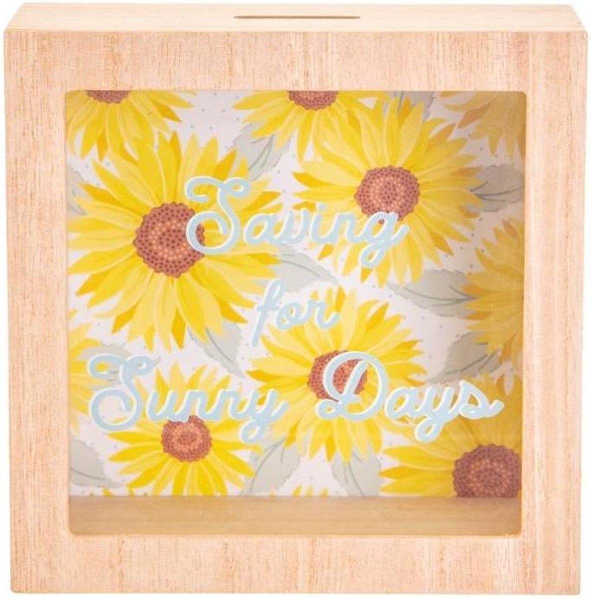 ,Spaarpot hout Sunny days Sunflower