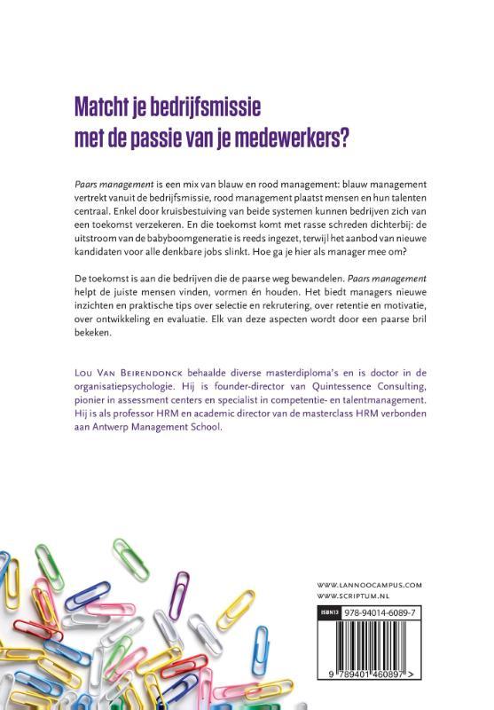 Lou van Beirendonck,Paars management