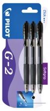 , Gelschrijver PILOT G2 zwart 0.32mm blister à 3 stuks