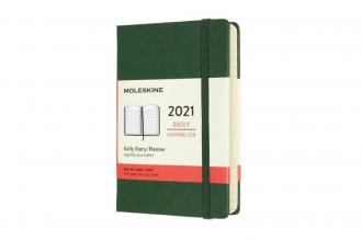 , Moleskine 12 MND Agenda - 2021 - Dagelijks - Pocket (9x14 cm) - Myrtle Groen - Harde Kaft