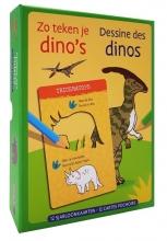 ZNU , Zo teken je dino`s - 12 sjabloonkaarten Dessine des dinos – 12 cartes pochoirs