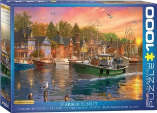 Eur-6000-0969 , Puzzel harbor sunset- eurographics- 1000 stuks