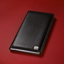, visitekaartmap Sigel Torino leer zwart 90x58mm voor 120     kaartjes