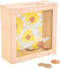 , Spaarpot hout Sunny days Sunflower