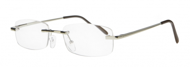 Ecg001 +2.0 , Leesbril metal reader, gold colored, rimless and spring hinge
