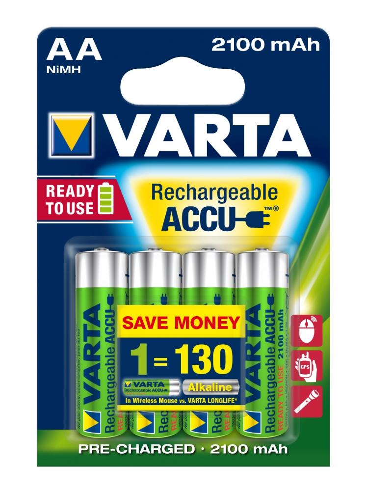 ,Batterij oplaadbaar Varta 4xAA 2100mAh ready2use