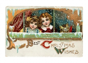Two Girls & Cat at Snowy Window Christmas Cards [With Envelope]