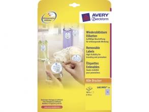 , etiket Avery ILK 10mm rond NP 25 vel 315 etiketten per vel  wit