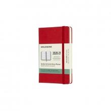 , Moleskine 18 MND Agenda - 2020/21 - Wekelijks Horizontaal - Pocket (9x14 cm) - Scarlet Red - Harde Kaft