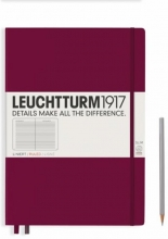 , Leuchtturm notitieboek master slim a4 lijn port red