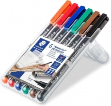 , Viltstift Staedtler Lumocolor 313 permanent S set à 6 stuks assorti