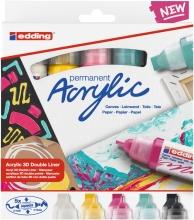 , Acrylmarker 3D double liner edding e-5400 medium set van 5 kleuren basis