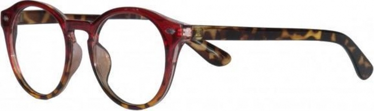 Qcr340 , Leesbril icon clear burgundy to demi frame with demi temple 2.00
