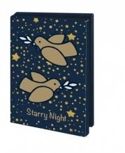 Mcw231 , Kerstkaart mapje 10 stuks met env starry night duifjes