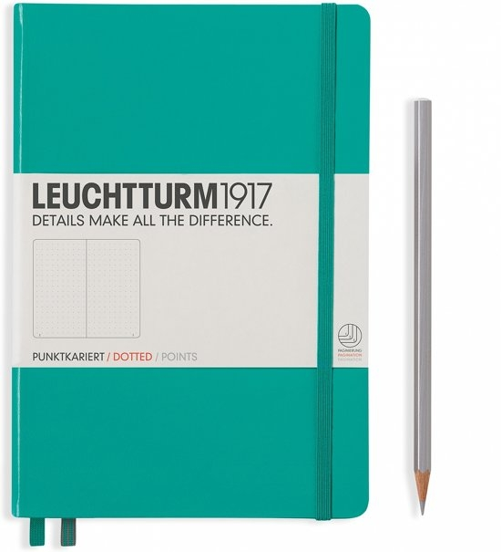 Lt344792,Leuchtturm notitieboek medium 145x210 puntjes/dots  emerald green